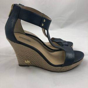 Michael Kors Espadrille Leather Wedge Sandals